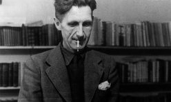 George Orwell at a typewriter