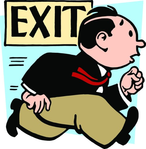 A man rushing towards an exit door color