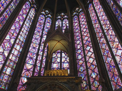 Stained glass windows of the chapel of sainte chapelle in paris